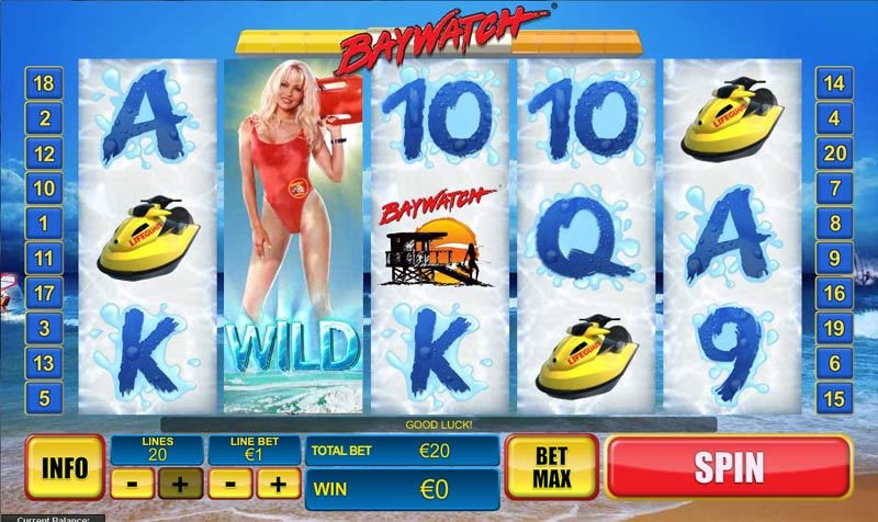 baywatch tv themed slots